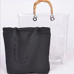 Handbags - Transparent Clear Tote w/ Removable Bag Inside!